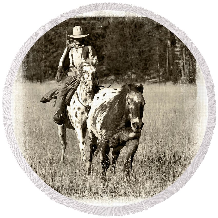 Cowboy Round Beach Towel featuring the photograph Round-up by Jerry Fornarotto