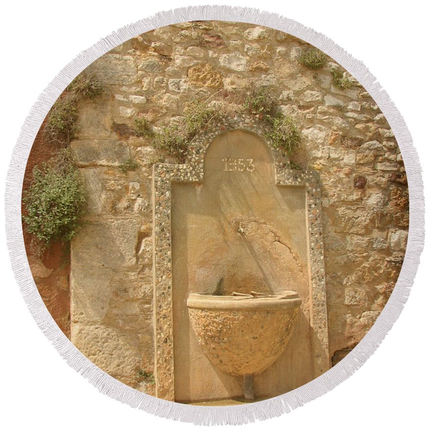 Fountain Round Beach Towel featuring the photograph Roussillon Fountain by Carla Parris