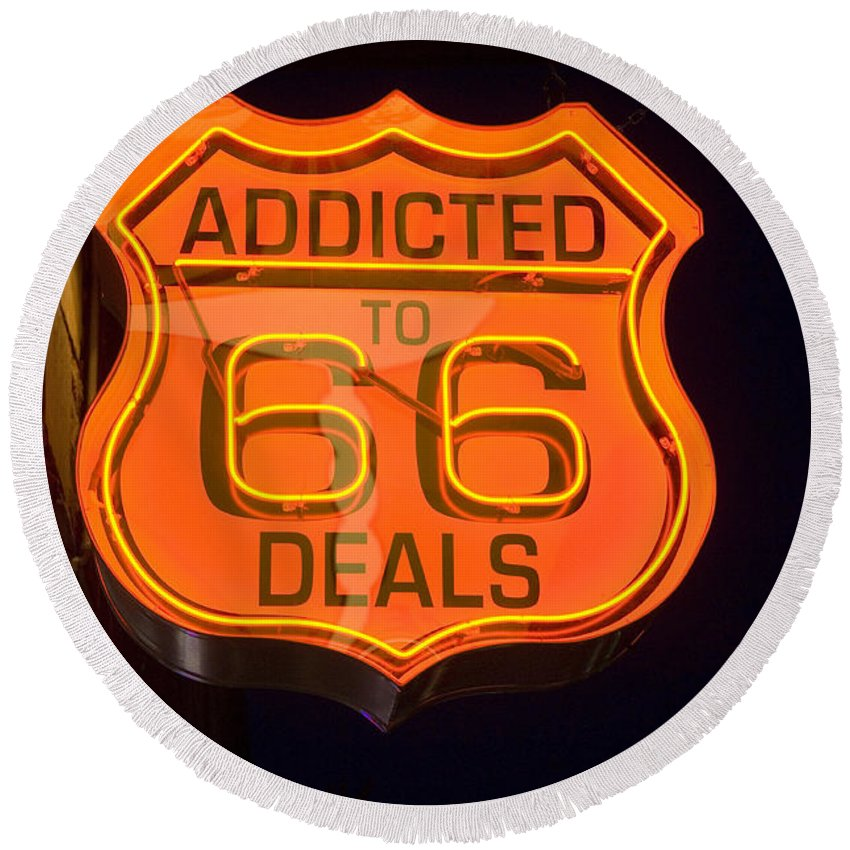 Classic Car Round Beach Towel featuring the photograph Route 66 Addicted by Bob Christopher