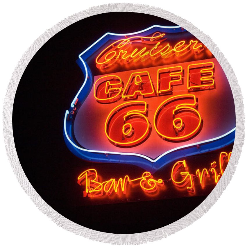 Flames Round Beach Towel featuring the photograph Route 66 Bar And Grill by Bob Christopher