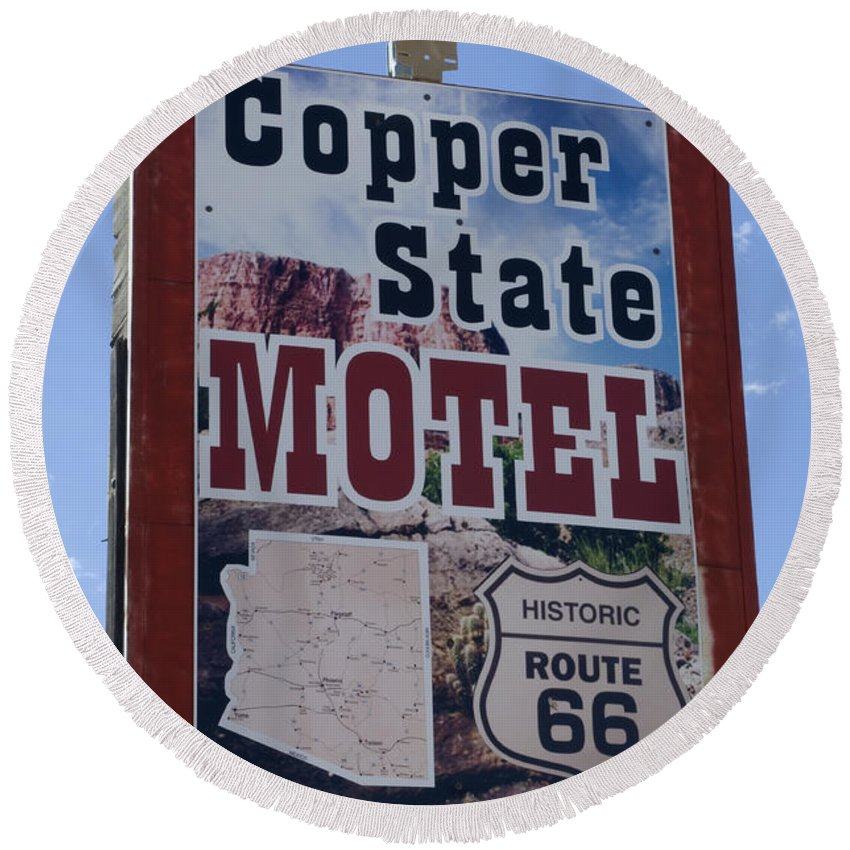 Wurlitzer Round Beach Towel featuring the photograph Route 66 Copper State Motel by Bob Christopher