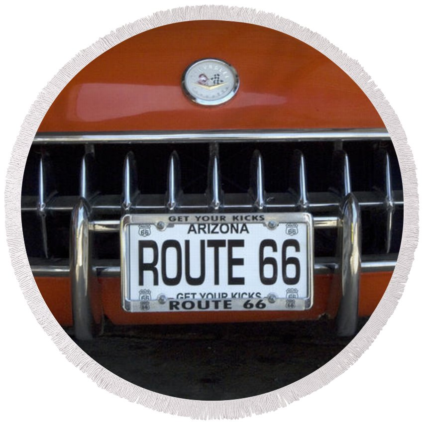 Flames Round Beach Towel featuring the photograph Route 66 Corvette Grill by Bob Christopher