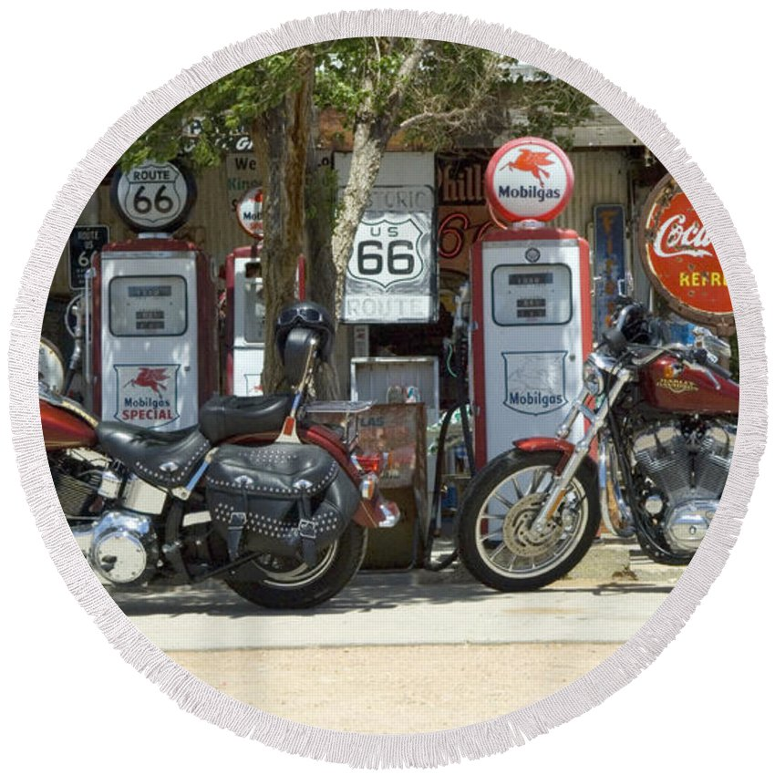 Flames Round Beach Towel featuring the photograph Route 66 Gas Pumps by Bob Christopher