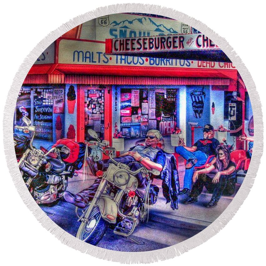 Route 66 Round Beach Towel featuring the photograph Route 66 Motorcycle Wall Art by Tommy Anderson