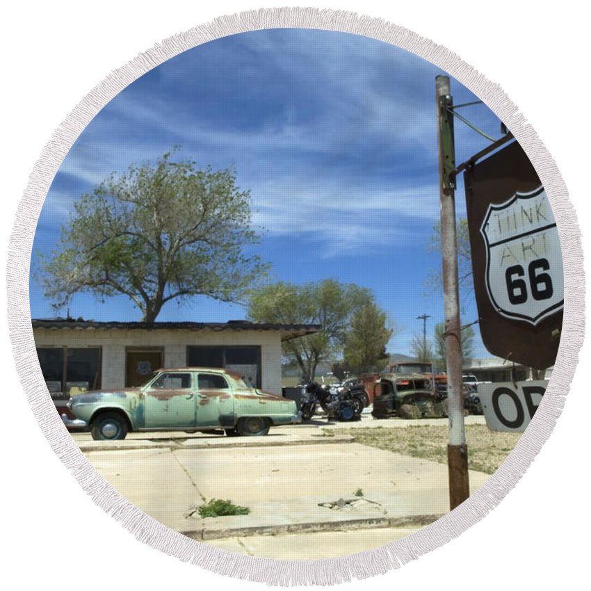 Flames Round Beach Towel featuring the photograph Route 66 Still Open by Bob Christopher