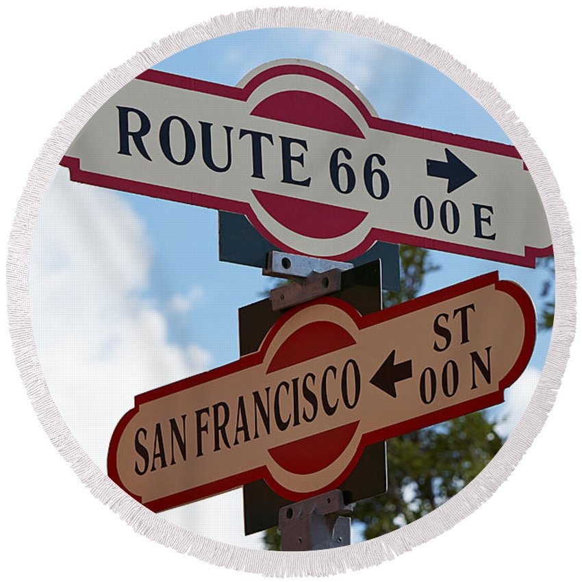 Sign Round Beach Towel featuring the photograph Route 66 Street Sign by Phyllis Denton