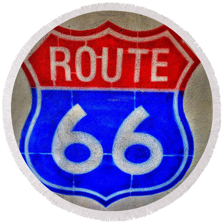 Route 66 Round Beach Towel featuring the photograph Route 66 Wall Art-2 by Tommy Anderson