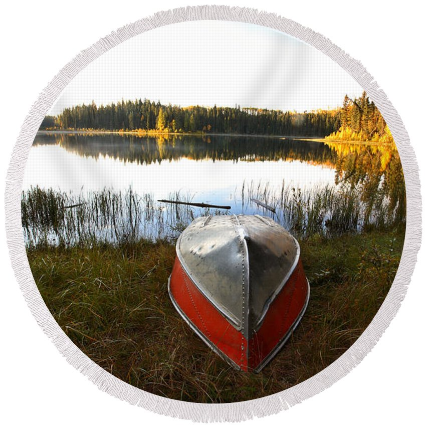 Rowboat Round Beach Towel featuring the photograph Rowboats At Jade Lake In Northern Saskatchewan by Mark Duffy