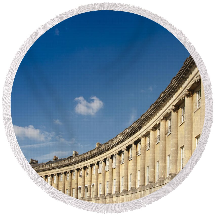 Britain Round Beach Towel featuring the photograph Royal Crescent by Andrew Michael