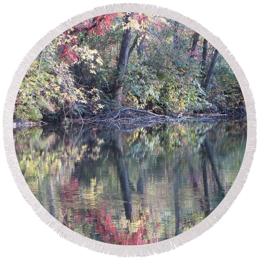 Ruby Memories Round Beach Towel featuring the photograph Ruby Of Fall by Sonali Gangane