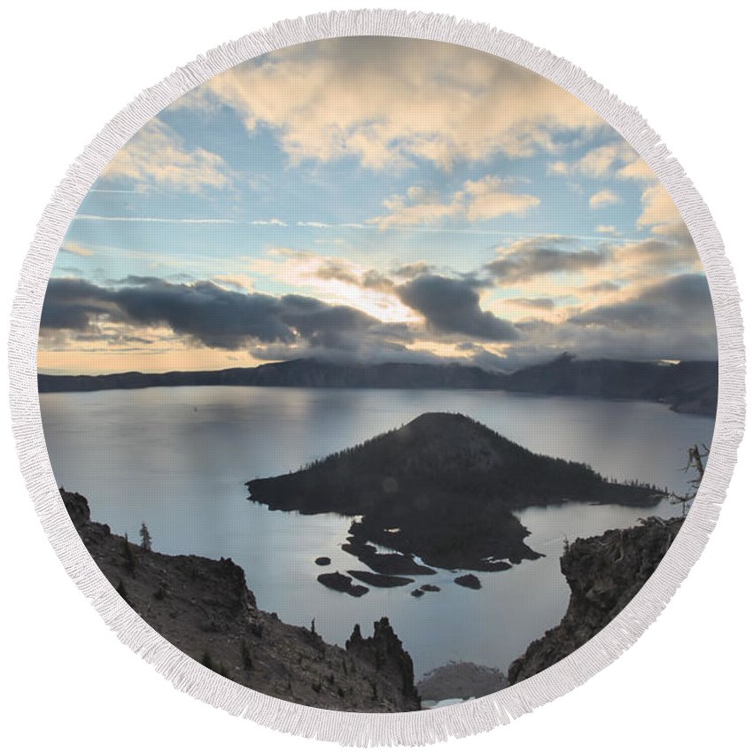 Crater Lake National Park Round Beach Towel featuring the photograph Rugged Wizard by Adam Jewell