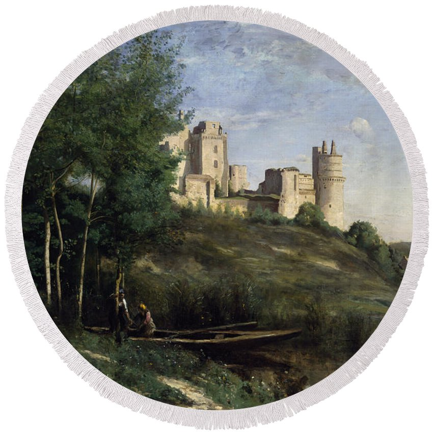 European Round Beach Towel featuring the painting Ruins Of The Chateau De Pierrefonds by Jean Baptiste Camille Corot