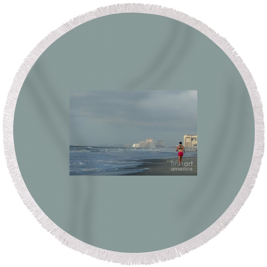 Ocean Round Beach Towel featuring the photograph Beach Runner by Lydia Holly