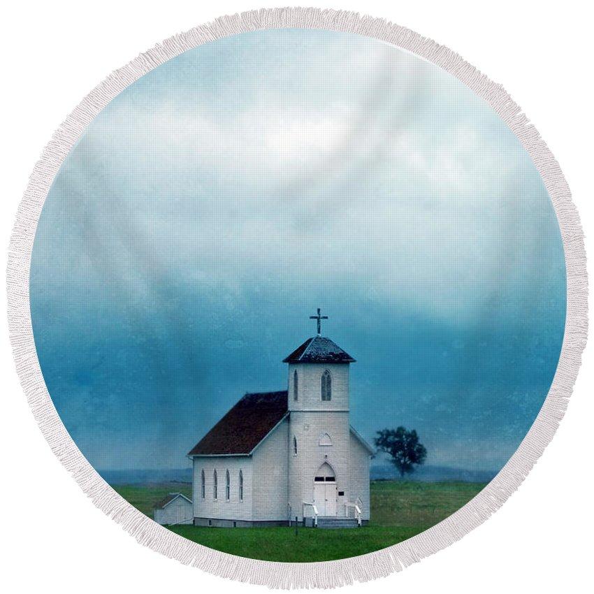 Church Round Beach Towel featuring the photograph Rural Church With Stormy Sky by Jill Battaglia