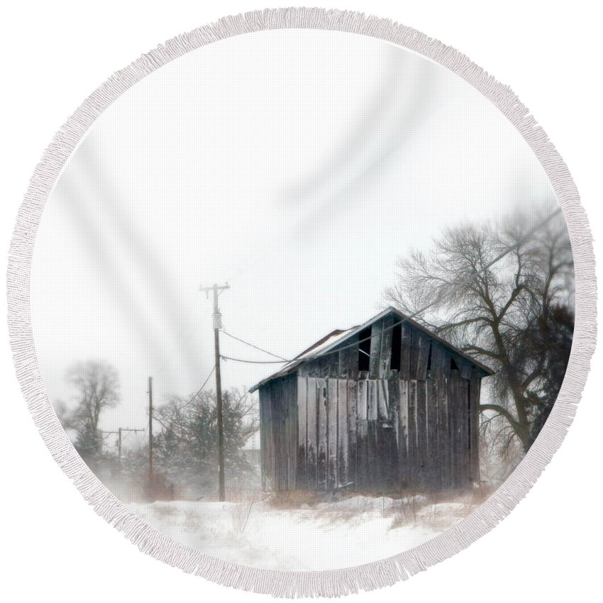 Road Round Beach Towel featuring the photograph Rural Road By A Shack In Winter by Jill Battaglia