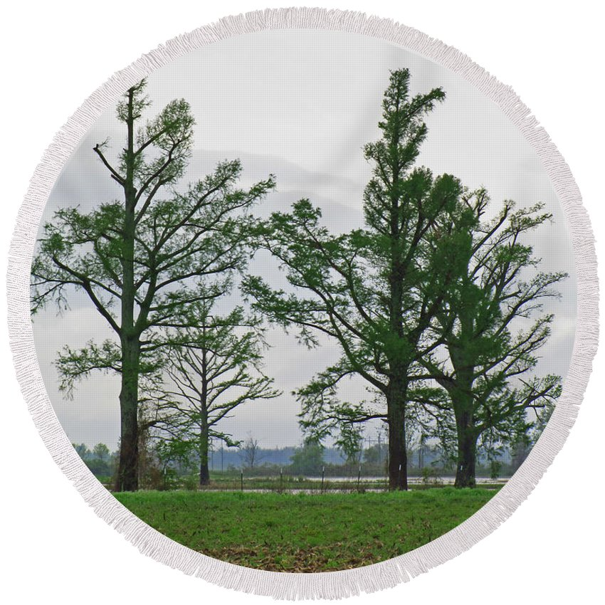 Round Beach Towel featuring the photograph Rural Trees Iv by Debbie Portwood