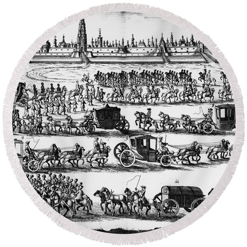 1698 Round Beach Towel featuring the photograph Russia: Procession, 1698 by Granger