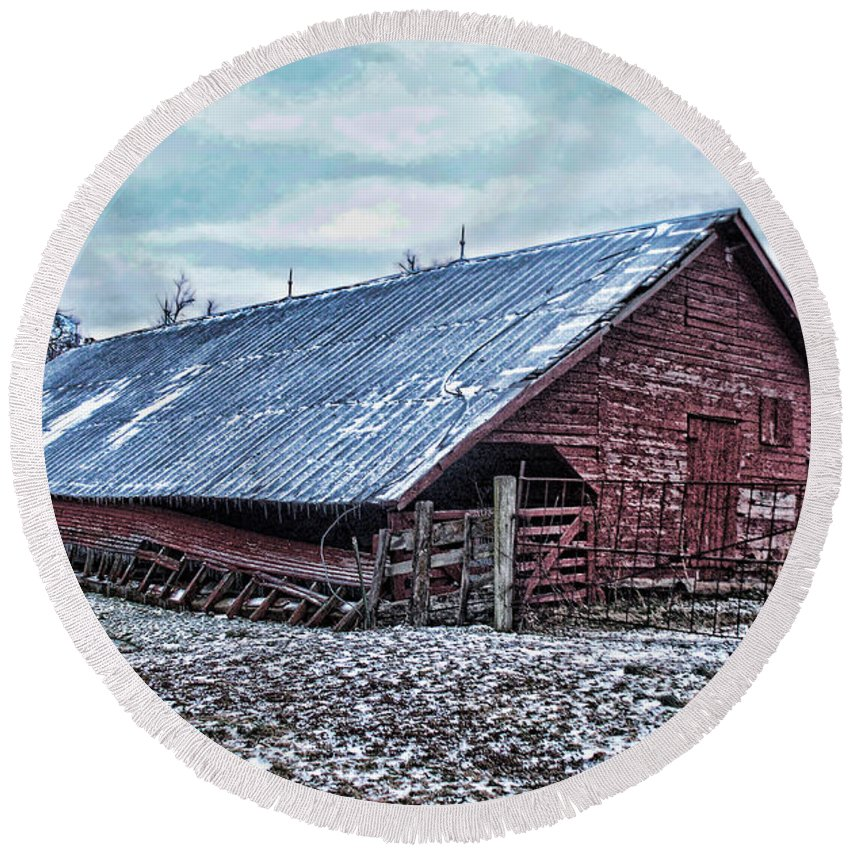 Arcitecture Round Beach Towel featuring the photograph Rustic Red Winter Barn by Debbie Portwood