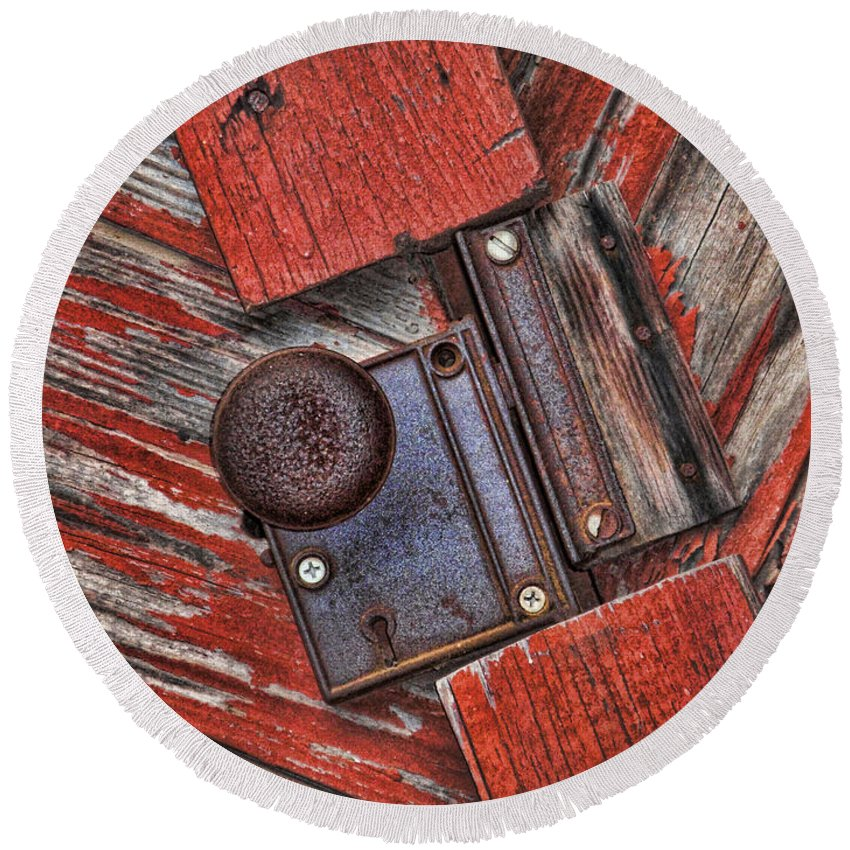 Rusty Round Beach Towel featuring the photograph Rusty Dusty And Musty by Kathy Clark