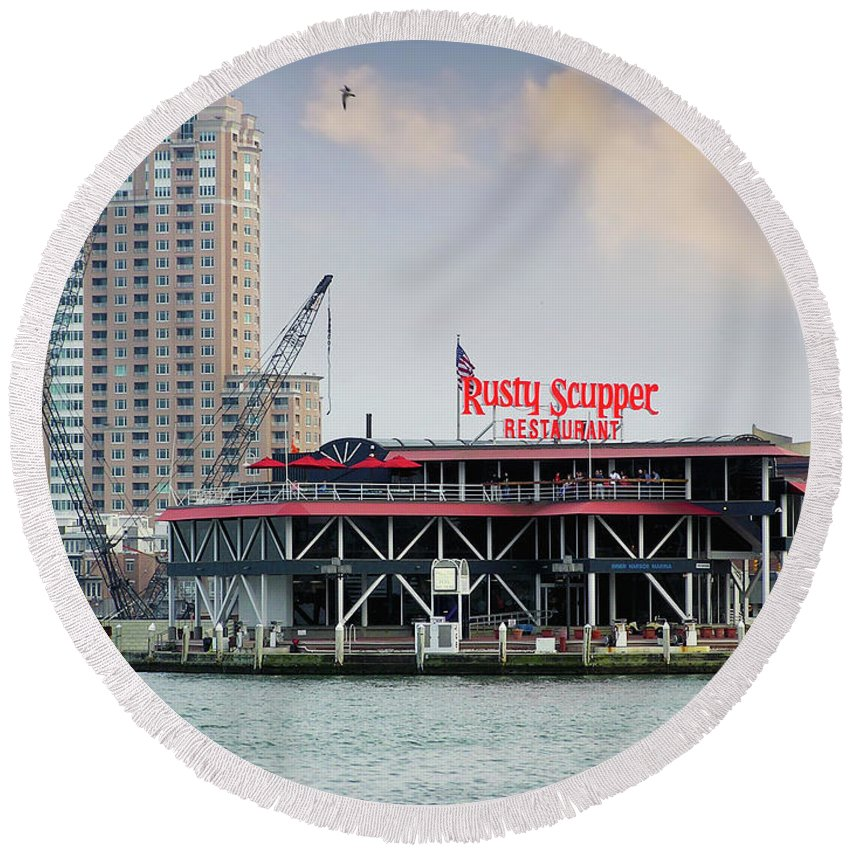2d Round Beach Towel featuring the photograph Rusty Scupper by Brian Wallace