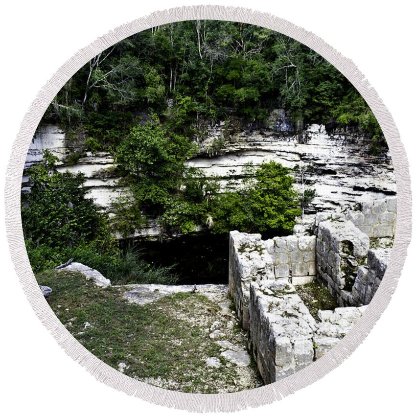 Chichen Itza Round Beach Towel featuring the photograph Sacred Cenote by Ken Frischkorn