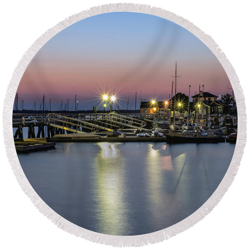 Newport Round Beach Towel featuring the photograph Safe Harbor by Robin-Lee Vieira