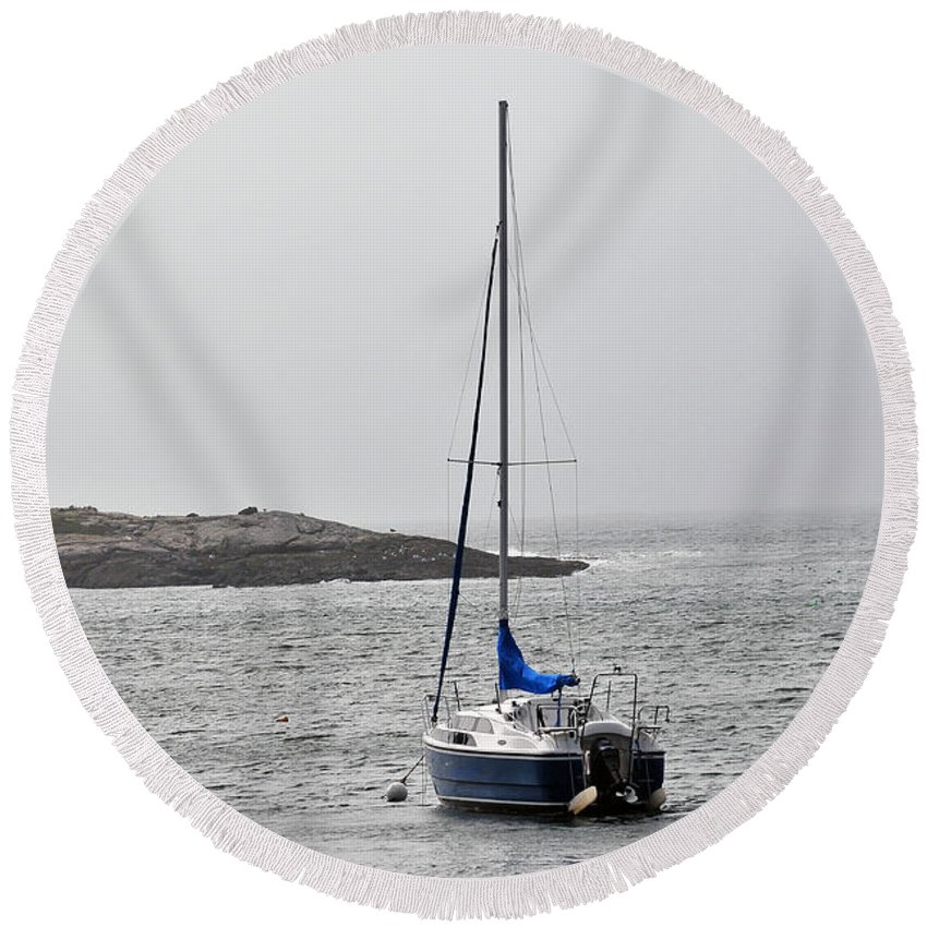 Round Beach Towel featuring the photograph Sailboat In Maine Fog by Terri Winkler