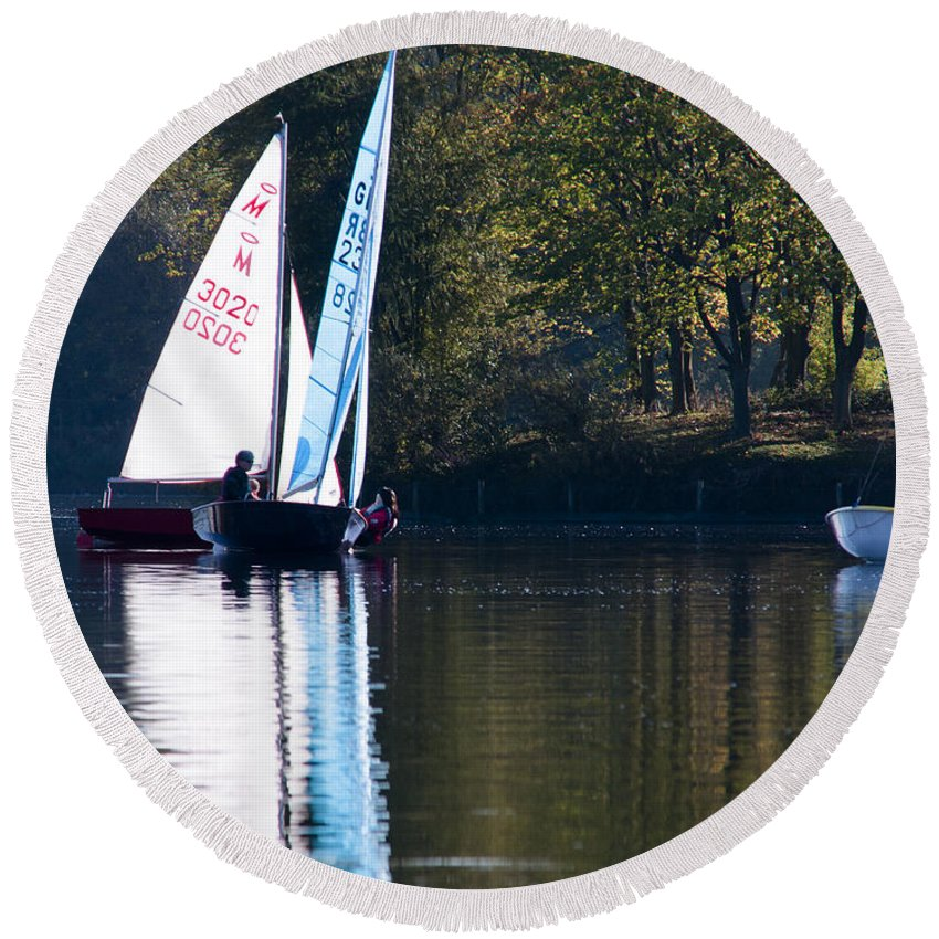Britain Round Beach Towel featuring the photograph Sailing by Andrew Michael