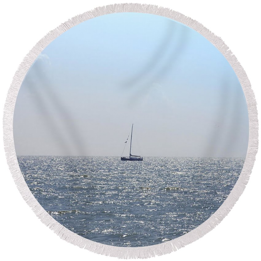 Sailing On Round Beach Towel featuring the photograph Sailing On by Bill Cannon