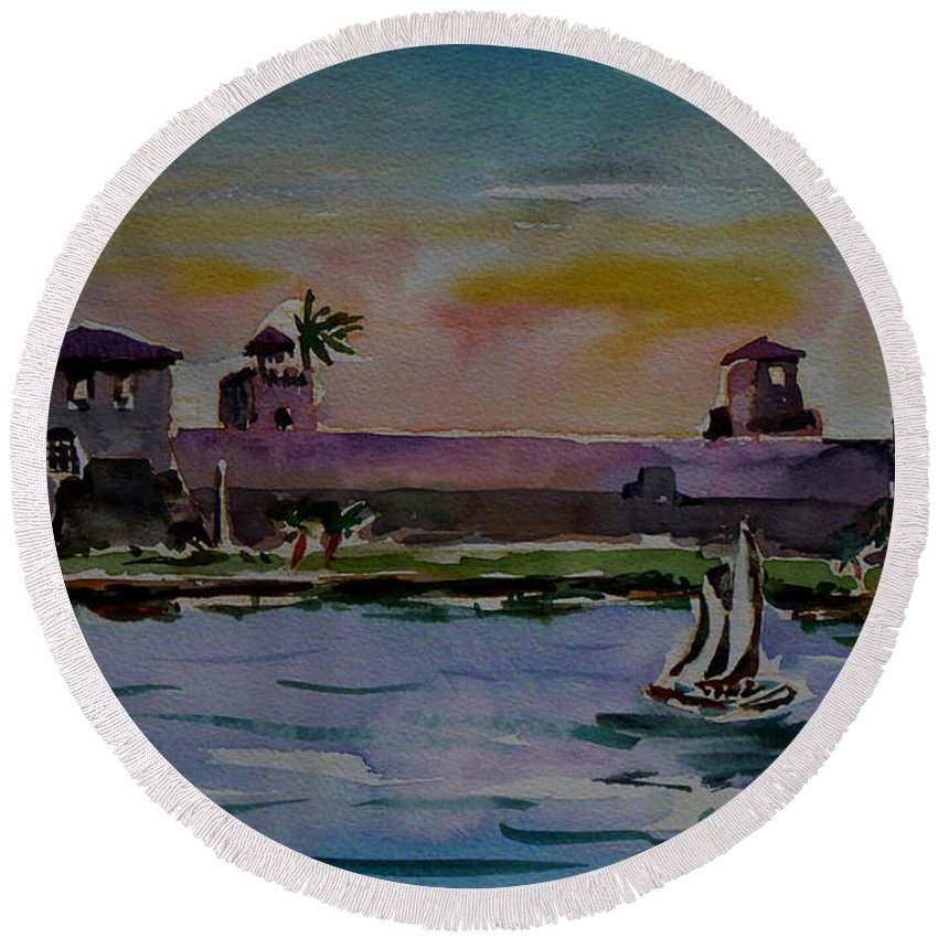 Rio Dulce Round Beach Towel featuring the painting Sailing To The Spanish Fort by Xueling Zou