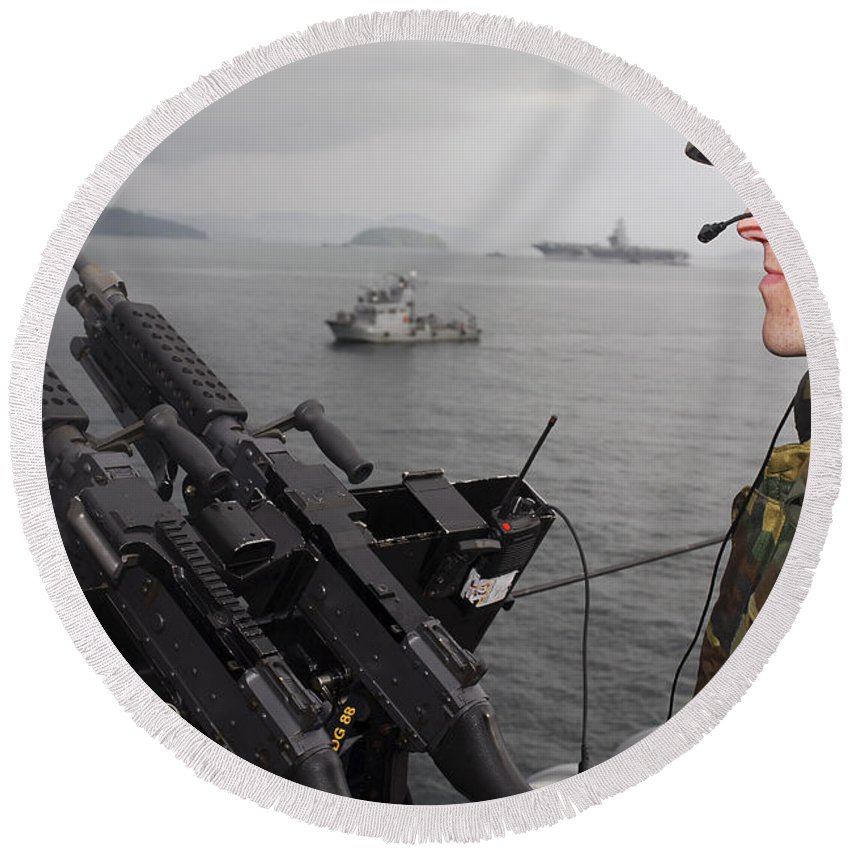 Weapon Round Beach Towel featuring the photograph Sailor Mans A .50-caliber Machine Gun by Stocktrek Images