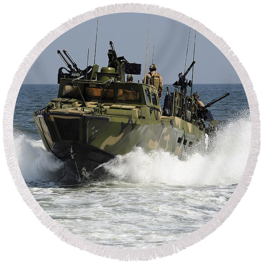 Riverine Command Boat Round Beach Towel featuring the photograph Sailors Navigate The Waters by Stocktrek Images