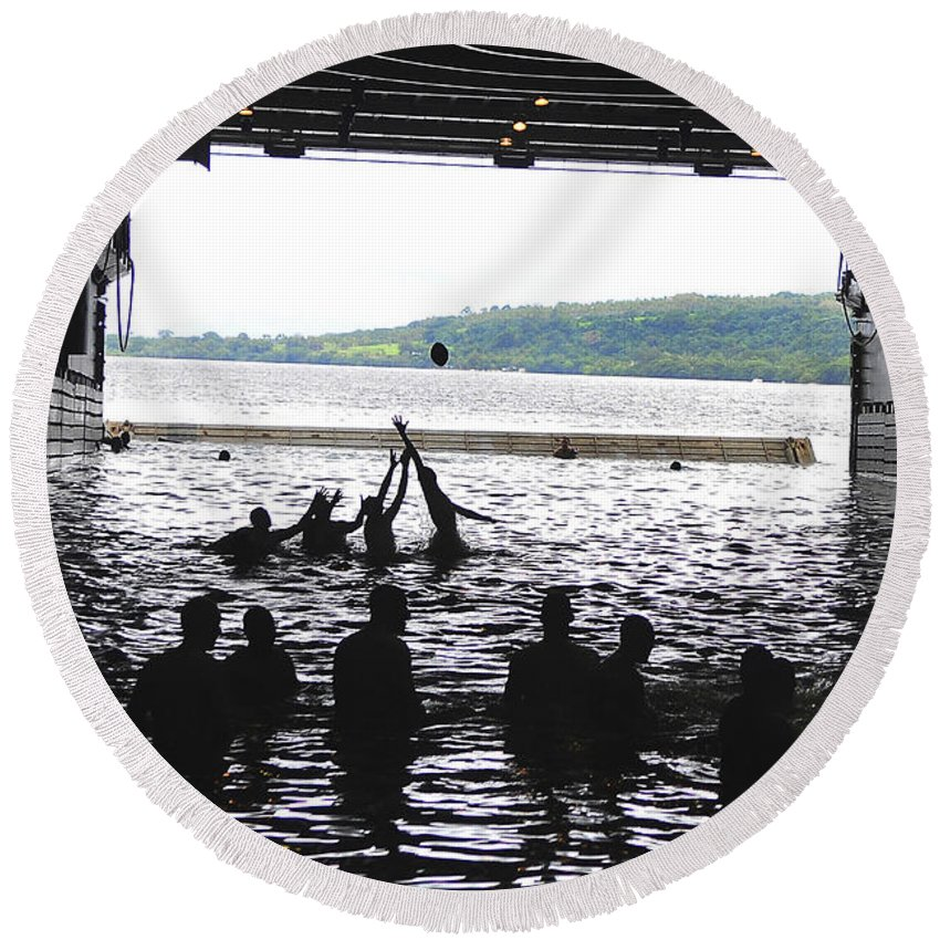 Football Round Beach Towel featuring the photograph Sailors Play Football During A Swim by Stocktrek Images