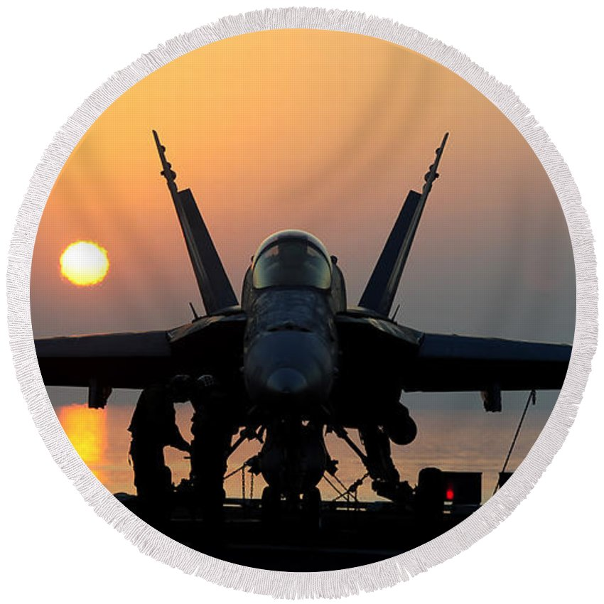 Flight Operations Round Beach Towel featuring the photograph Sailors Prepare An Fa-18c Hornet by Stocktrek Images