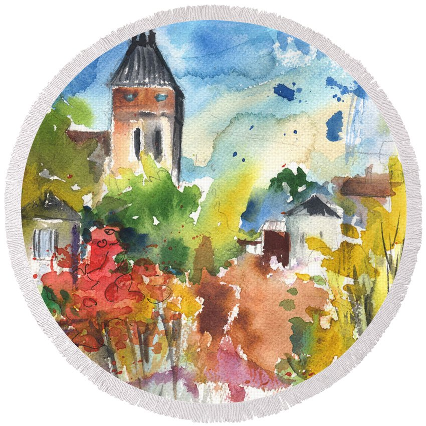 Travel Round Beach Towel featuring the painting Saint Bertrand De Comminges 05 by Miki De Goodaboom