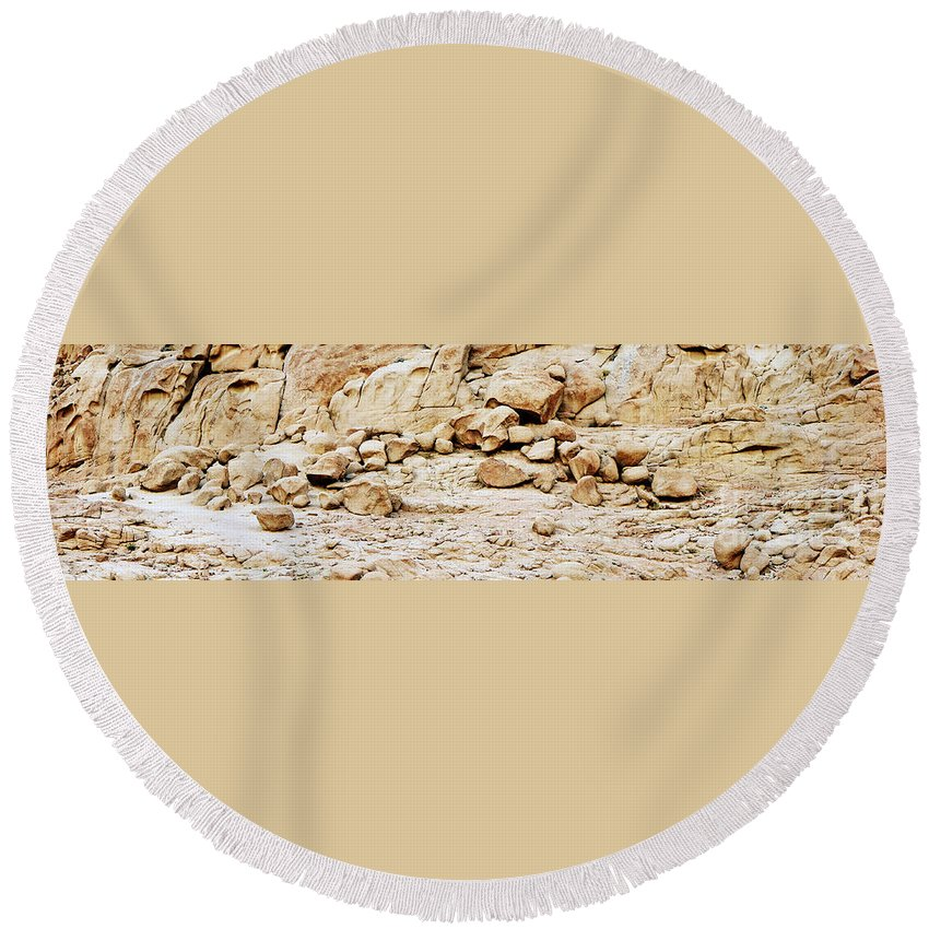 Desert Landscape Rock Rocks Cliff Sinai mount Sinai jabal Musa st Catherine santa Katherina Egypt Sand Sahara Africa Round Beach Towel featuring the photograph Saint Catherine Sinai by Neil Pollick