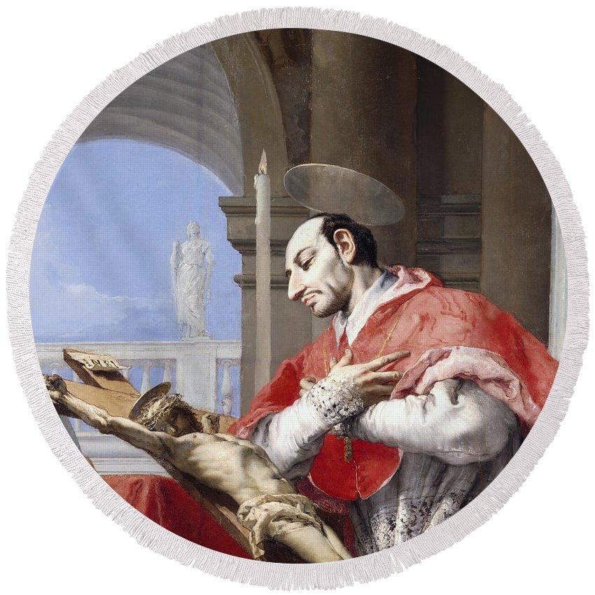 Saint Round Beach Towel featuring the painting Saint Charles Borromeo by Giovanni Battista Tiepolo