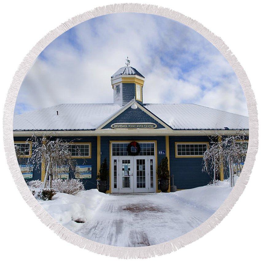 Building Round Beach Towel featuring the photograph Saint John River Centre by Jeff Galbraith