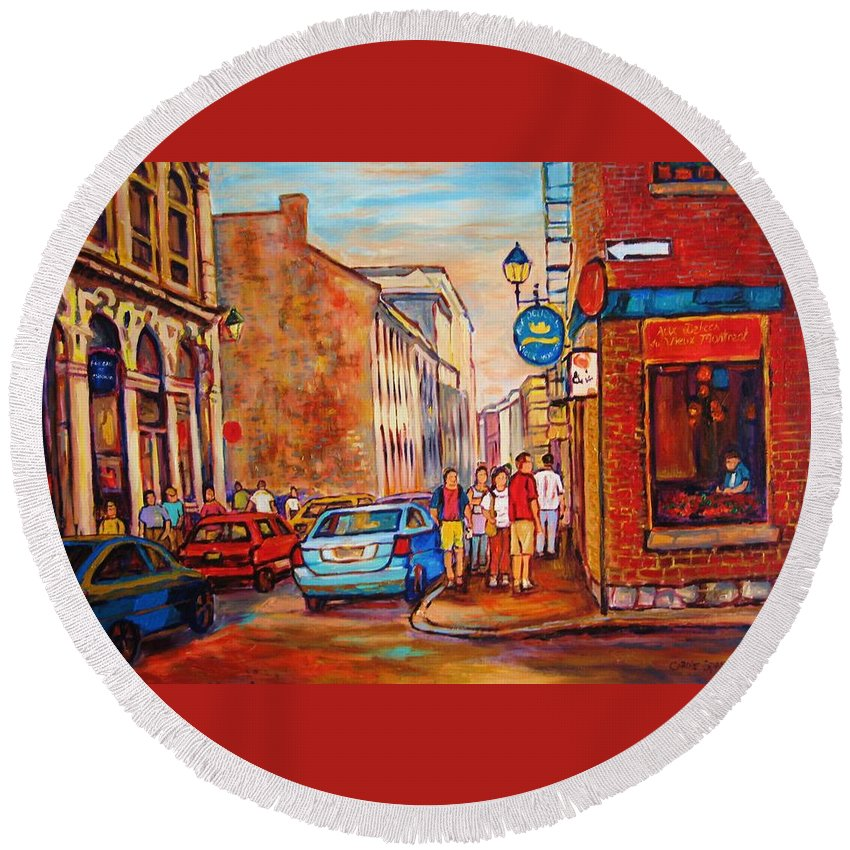 Streetscene Round Beach Towel featuring the painting Saint Paul Street Montreal by Carole Spandau