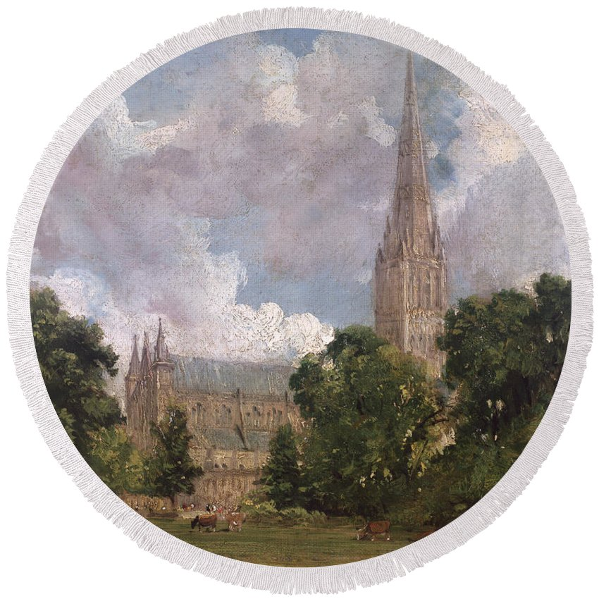 Salisbury Cathedral From The South West Round Beach Towel featuring the painting Salisbury Cathedral From The South West by John Constable