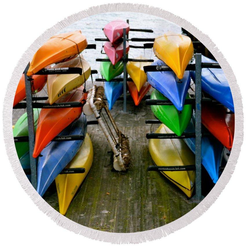 Kayak Round Beach Towel featuring the photograph Salma Kayaks by Debbi Granruth