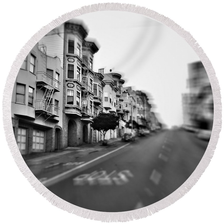 San Francisco Side Street Round Beach Towel featuring the photograph San Francisco Side Street-black And White by Douglas Barnard