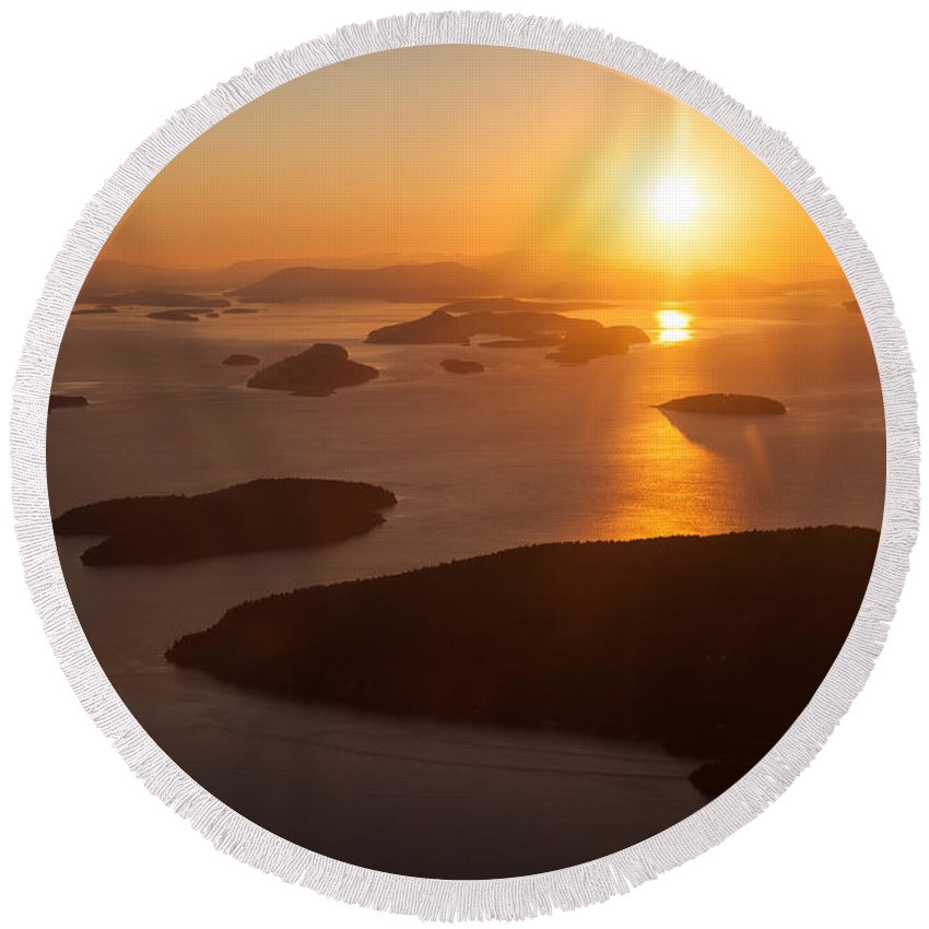 San Juan Islands Round Beach Towel featuring the photograph San Juan Islands Sunset Evening by Mike Reid