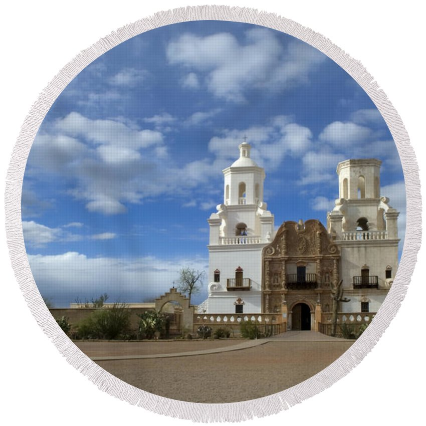 San Xavier Del Bac Mission Round Beach Towel featuring the photograph San Xavier Del Bac Tucson by Bob Christopher