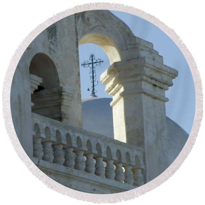 San Xavier Del Bac Mission Round Beach Towel featuring the photograph San Xavier Del Bac Vignette by Bob Christopher