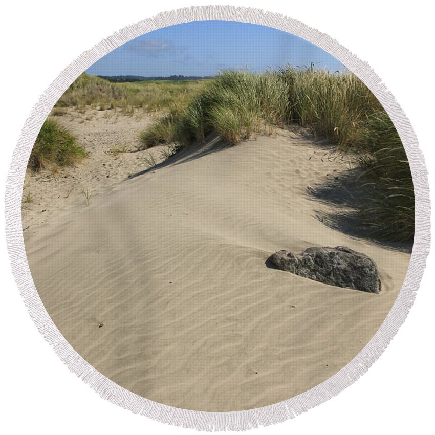 Sand Dunes Round Beach Towel featuring the photograph Sand And Grass Dunes by Athena Mckinzie