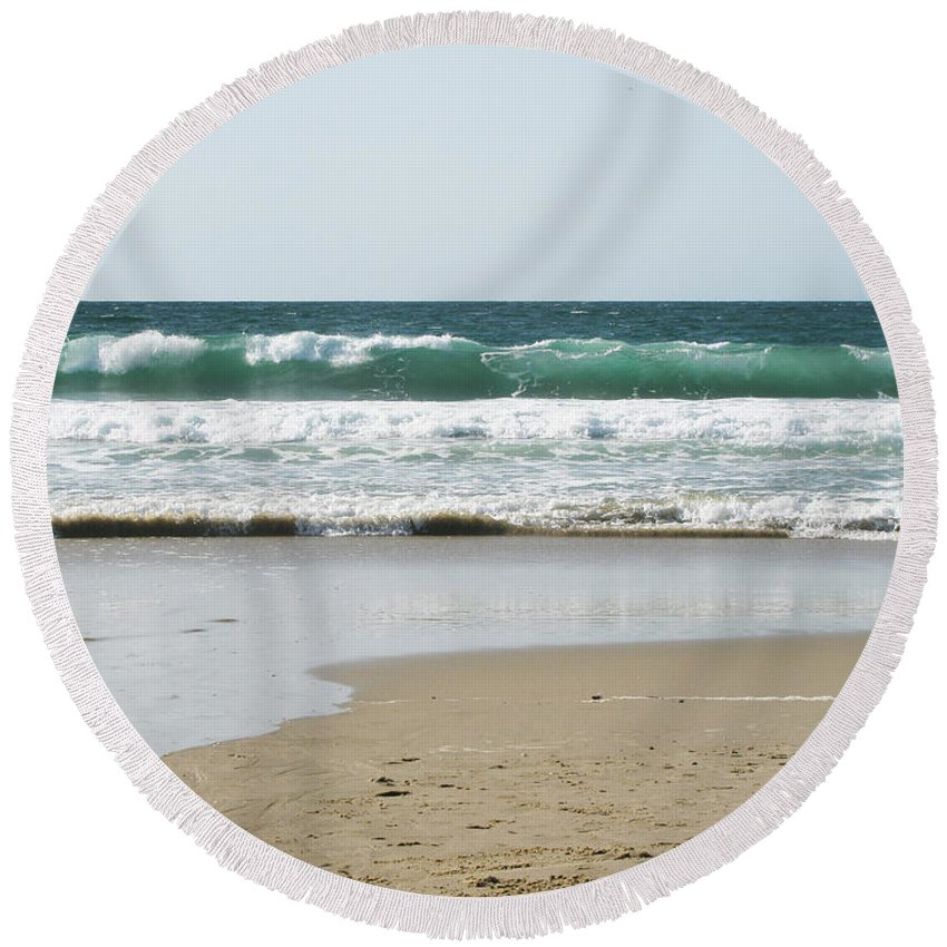 California Round Beach Towel featuring the photograph Sand City Rolling Waves by Kathleen Grace