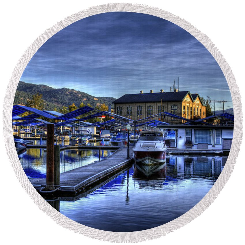 Sandpoint Idaho. Landscape Round Beach Towel featuring the photograph Sandpoint Marina And Power House by Lee Santa