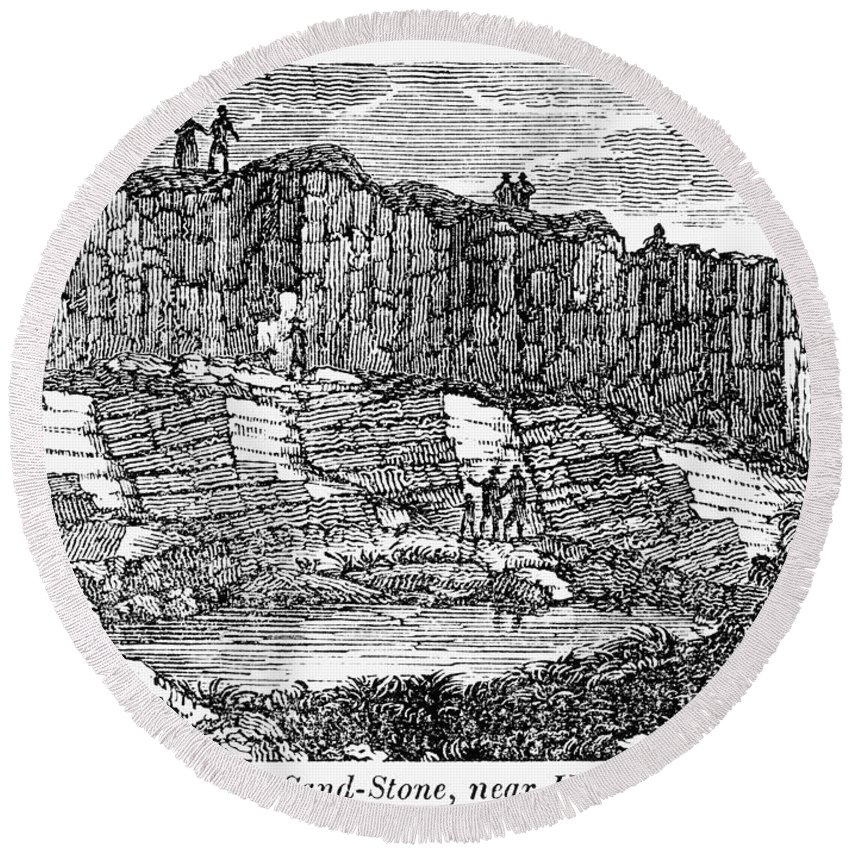 1840 Round Beach Towel featuring the photograph Sandstone Quarry, 1840 by Granger