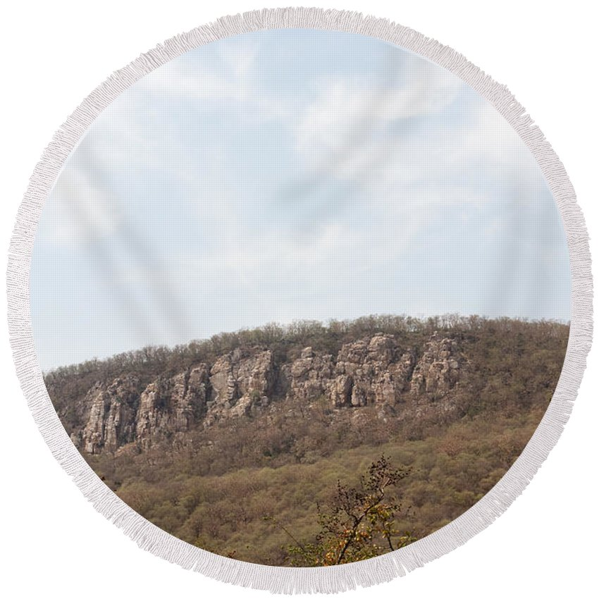 Hill Round Beach Towel featuring the photograph Sariska Nature - A Weathered Hill by Ashish Agarwal